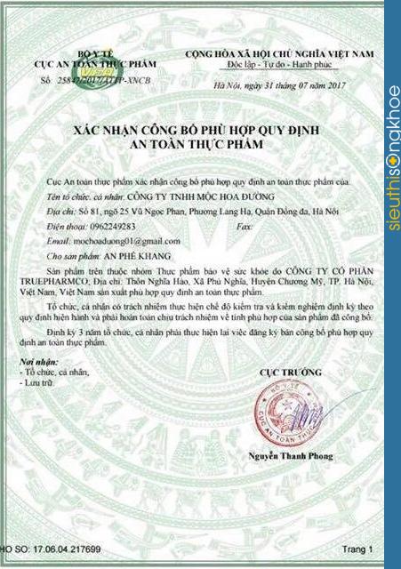 giấy chứng nhận an phế khang