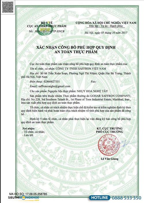 giấy chứng nhận nhuỵ hoa nghệ tây saffron