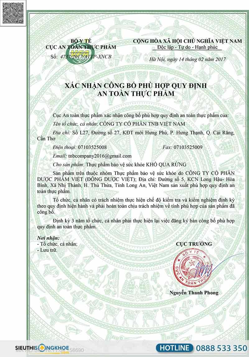 giấy chứng nhận viên uống mudaru