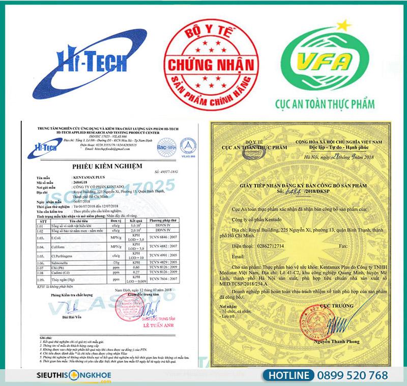 giấy chứng nhận thảo dược Kentamax Plus
