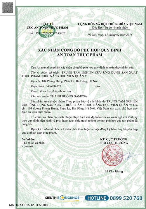 giấy chứng nhận thanh đường Gamosa