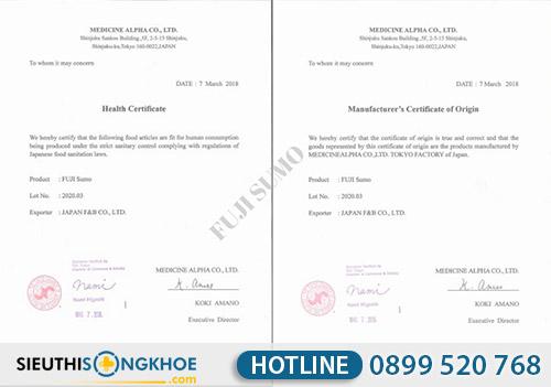 giấy chứng nhận viên uống tăng cường sinh lý nam Fuji Sumo