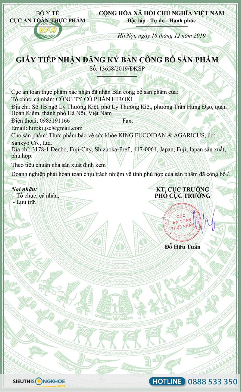 giấy chứng nhận king fucoidan & agaricus