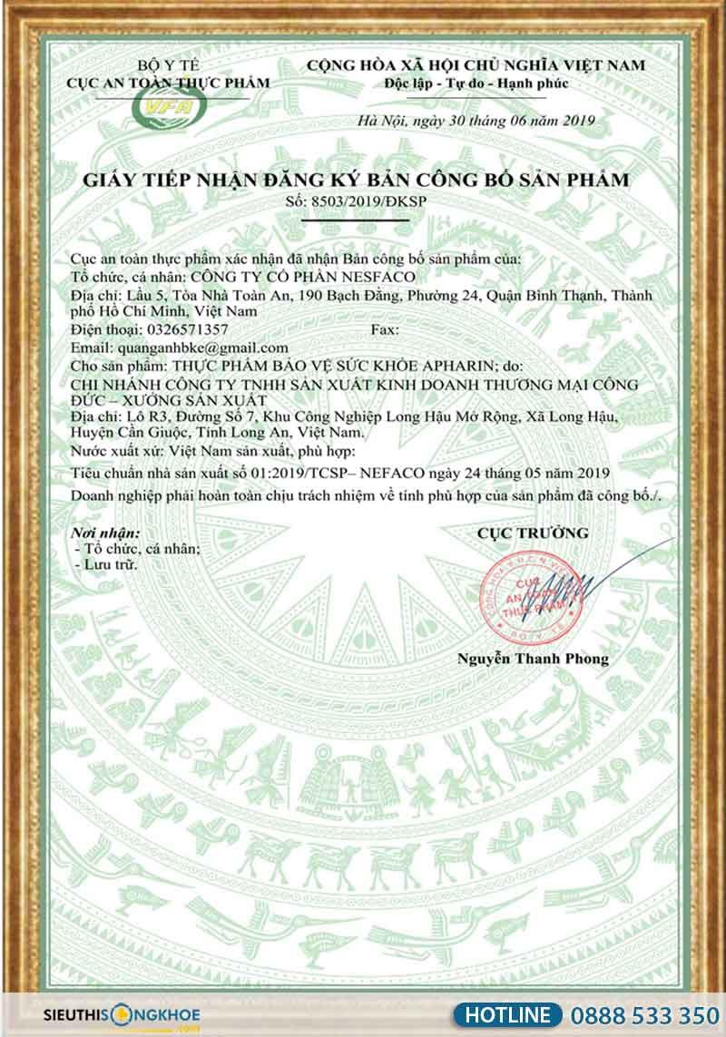 giấy chứng nhận sản phẩm huyết áp apharin