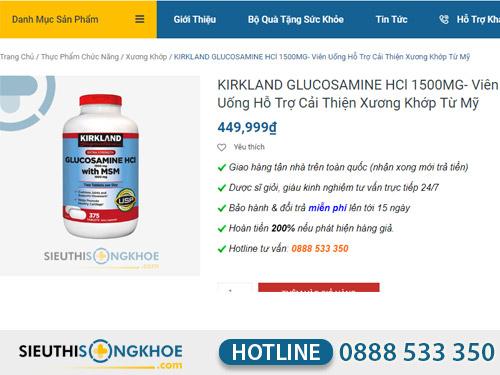 kikrland glucosamine hcl 1500 mg mua o dau