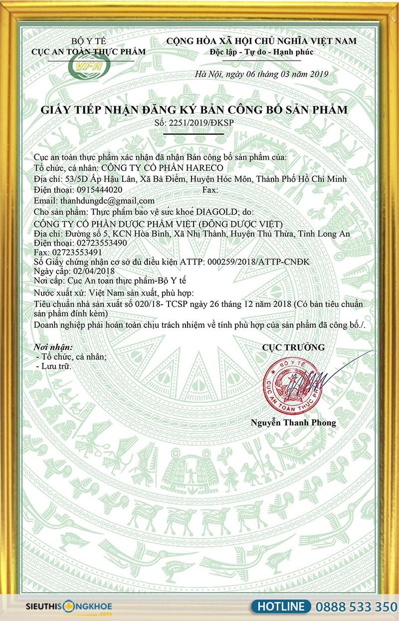 giấy chứng nhận tiểu đường diagold