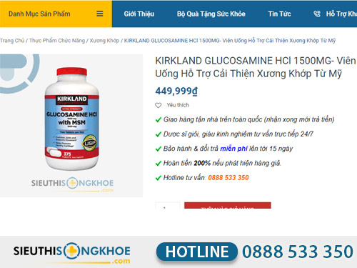 phan hoi khach hang dung vien uong kirkland glucosamine 1500mg