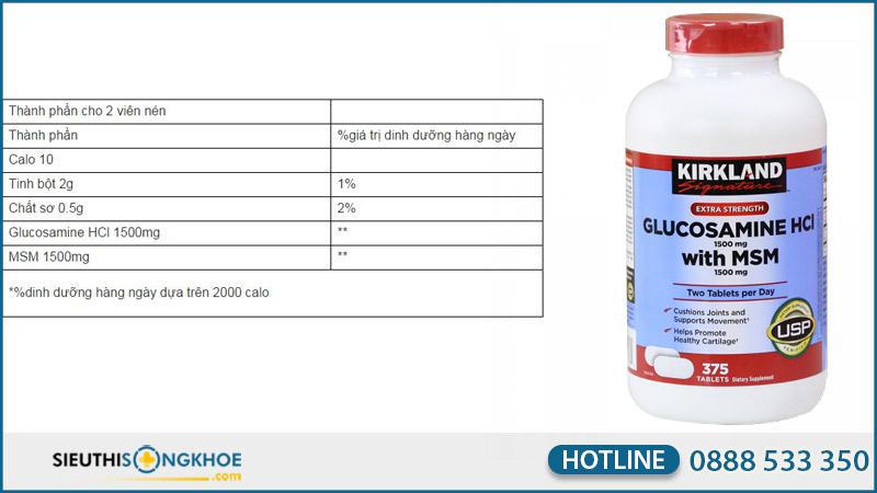 kirkland glucosamine hcl 1500mg co tac dung phu khong