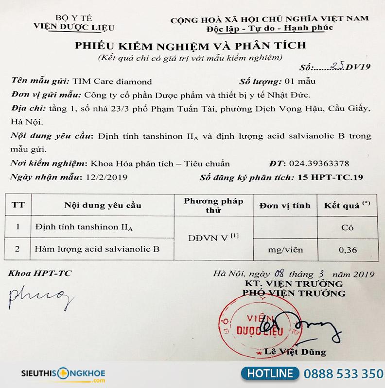 giấy chứng nhận tim care diamond