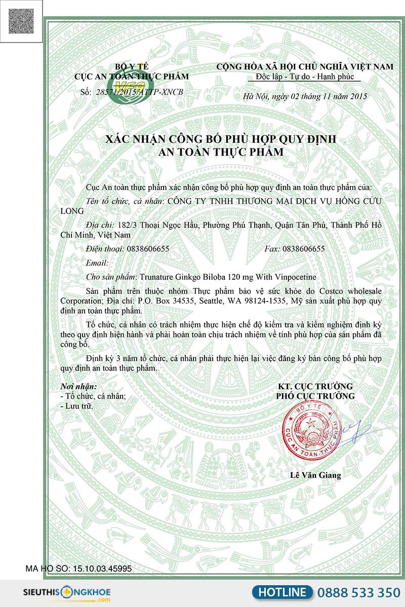 giấy chứng nhận TruNature Ginkgo Biloba
