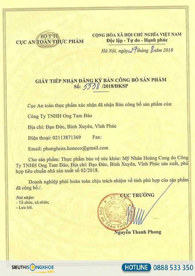 giấy chứng nhận mỹ nhân hoàng cung