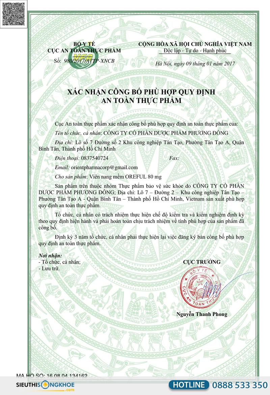 giấy chứng nhận oreful
