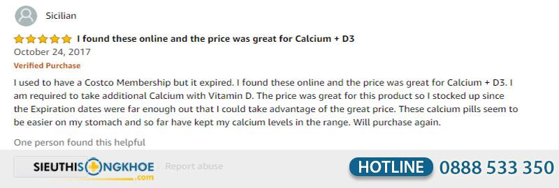 phản hồi calcium kirkland