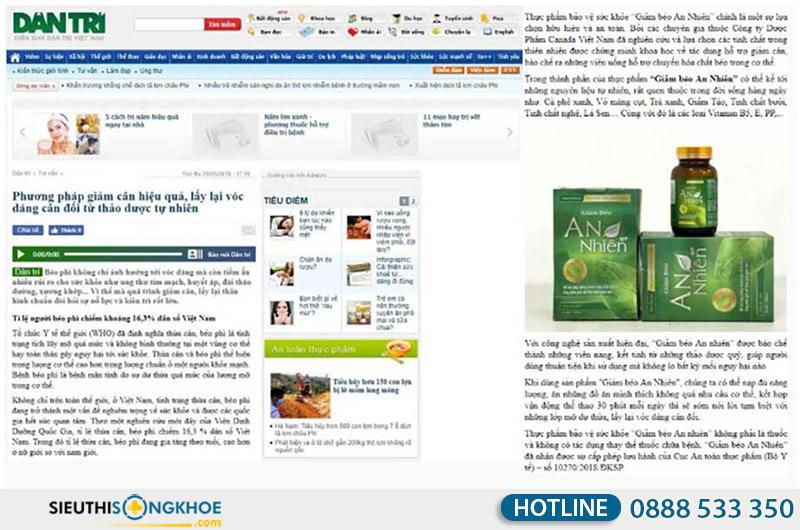 báo dân trí đưa tin về giảm béo an nhiên