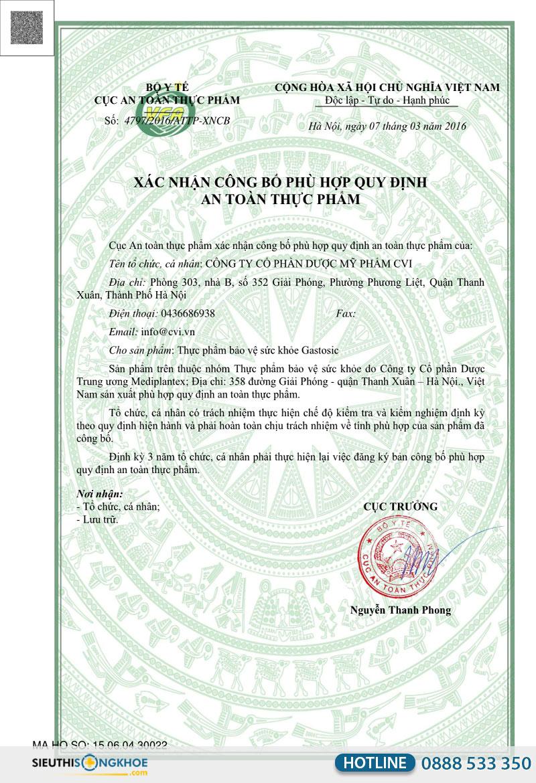 giấy chứng nhận gastosic