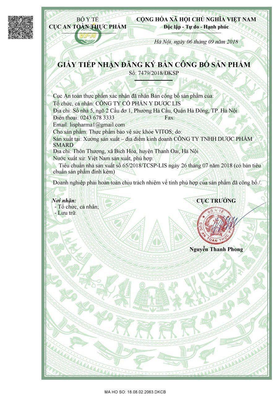 giấy chứng nhận dja dày vitos