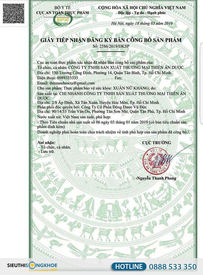 giấy chứng nhận xuân nữ khang
