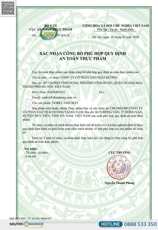 giấy chứng nhận nobel gan mật thái dương