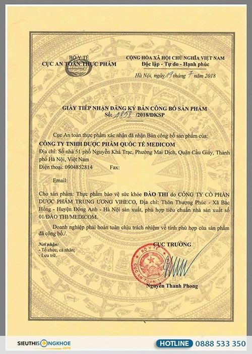 giấy chứng nhận sản phẩm đào thi