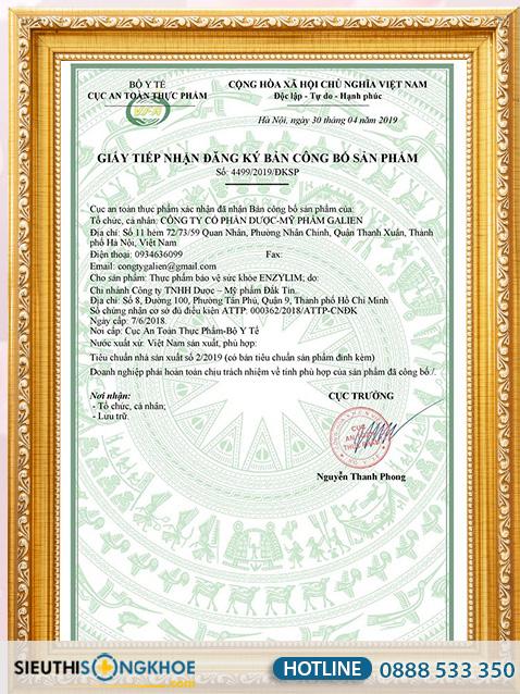 giấy chứng nhận enzylim