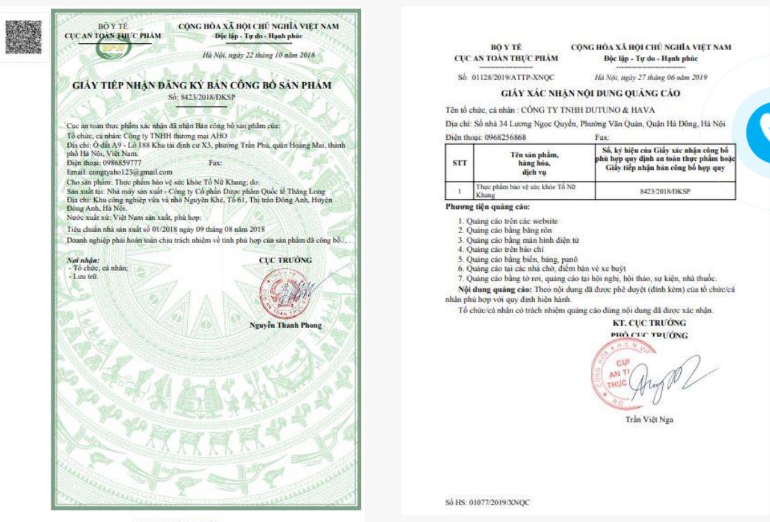 giấy chứng nhận của bộ y tế tố nữ khang