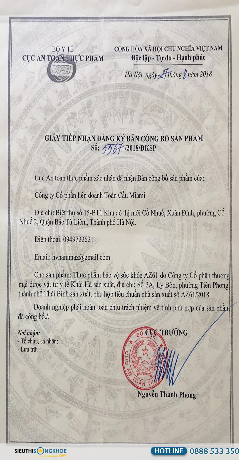giấy chứng nhận az61