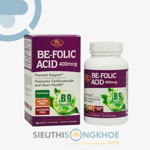 Be Folic Acid 400mcg Olympian Labs – Viên Bổ Thai, Hỗ Trợ Phòng Ngừa Dị Tật Cho Thai Nhi