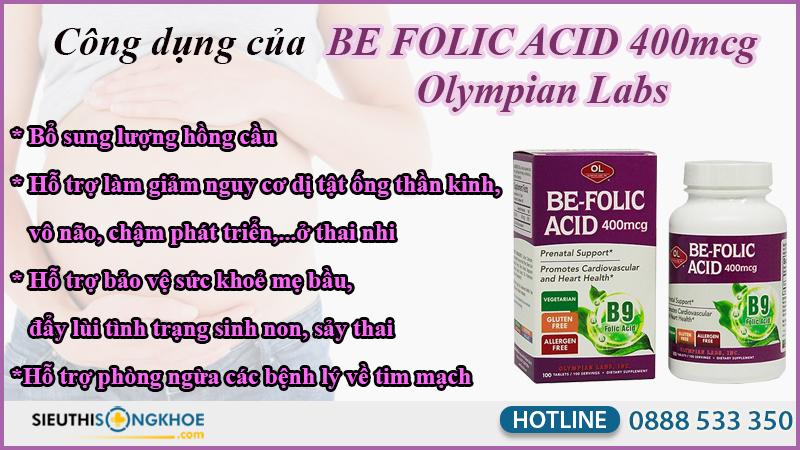 công dụng be folic acid 400mcg olympian labs