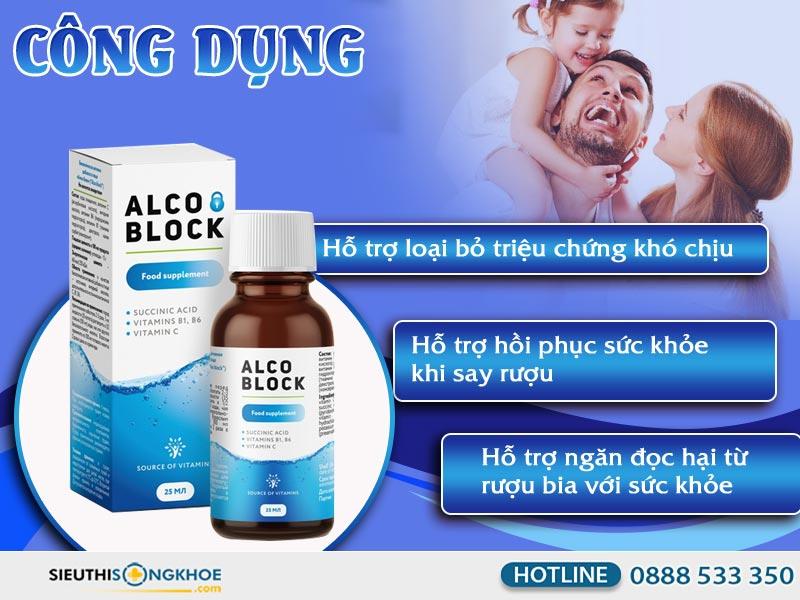 cong dung nuoc giai doc ruou alco block