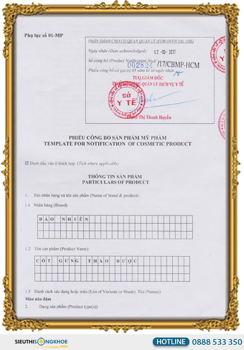 giấy chứng nhận cốt gừng bảo nhiên