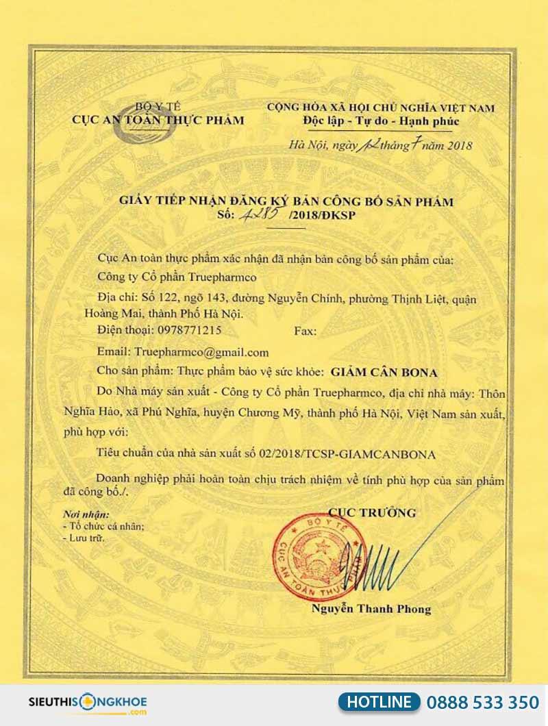 giấy chứng nhận giảm cân bona