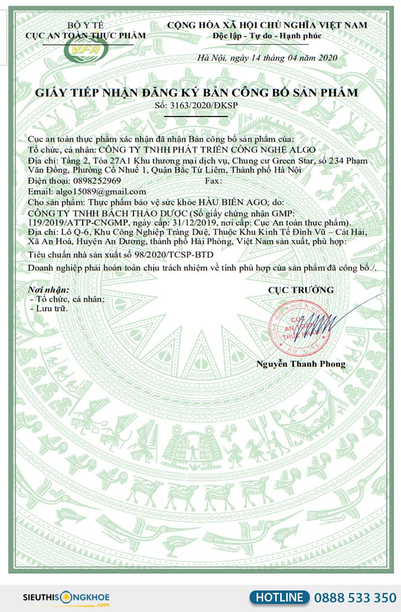 giấy chứng nhận hàu biển ago