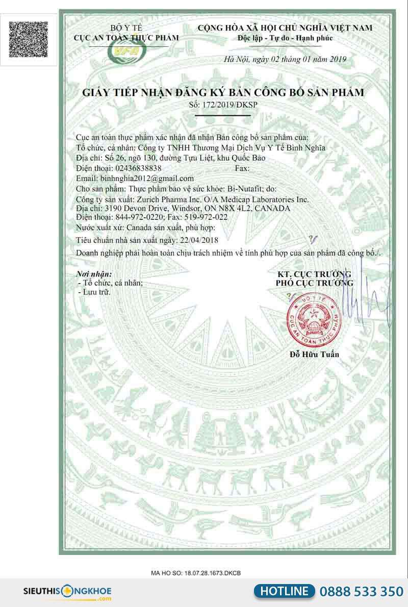 giấy chứng nhận viên uống bi-nutafit