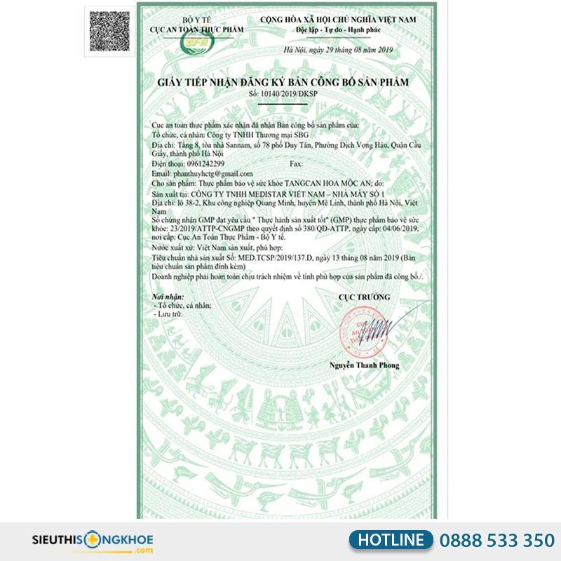 giấy chứng nhận viên uống hoa mộc an