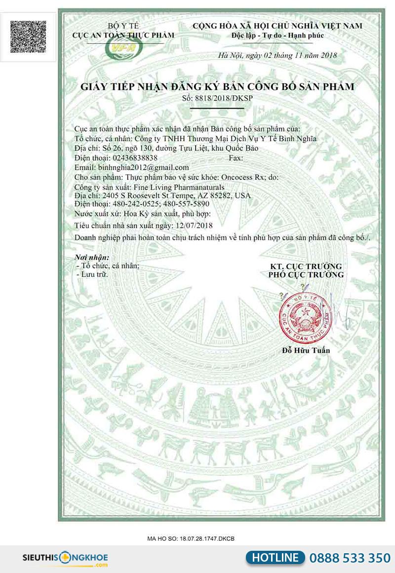giấy chứng nhận viên uống oncocess rx