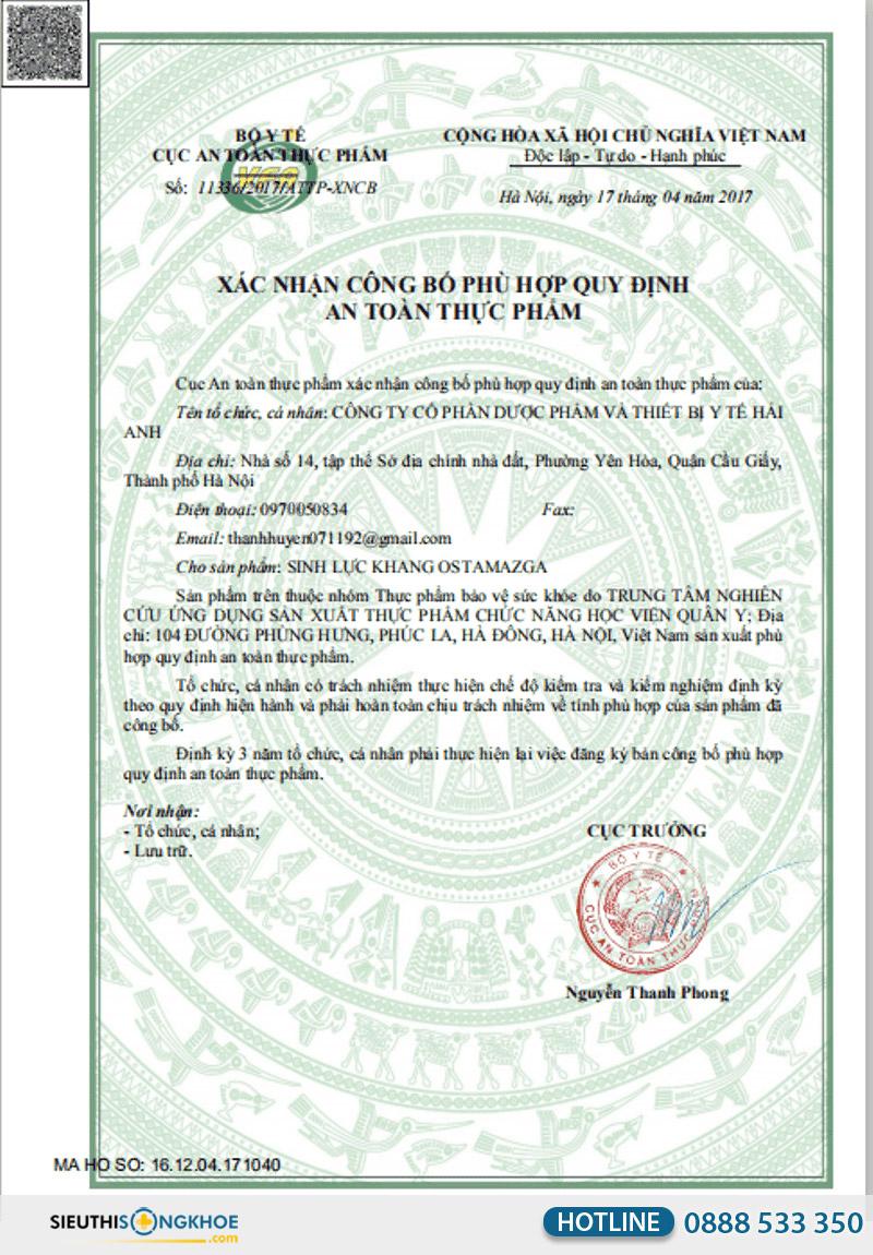 giấy chứng nhận viên uống sinh lực khang