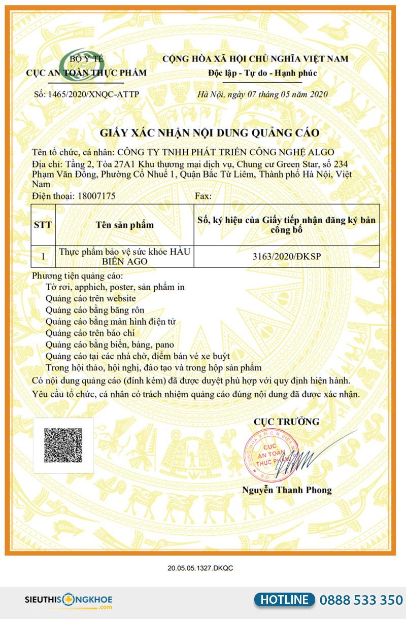 giấy xác nhận quảng cáo hàu biển ago