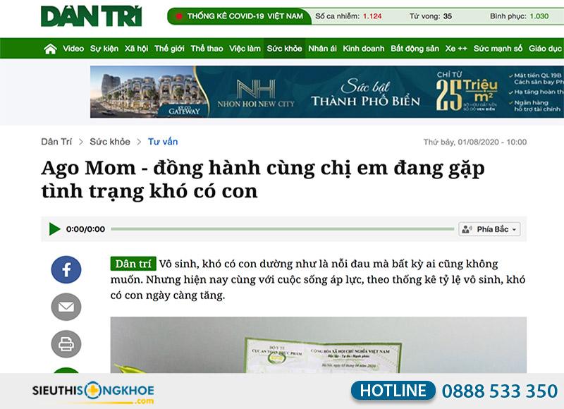 báo dân trí đăng tin về viên uống ago mom